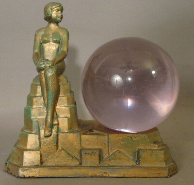 1929 Antique ART DECO Era NUDE LADY Betty Beck STATUE Old LAMP Figural ASHTRAY