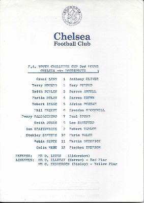 Chelsea v Portsmouth FA Youth Cup 3rd Round 1983/84 - Single sheet