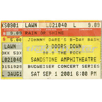 3 DOORS DOWN & NICKELBACK Concert Ticket Stub KANSAS CITY KS 9/1/01 SANDSTONE