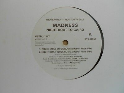 "Madness=Night Boat To Cairo (4 Track Promo 12"" Single)  Ex-"