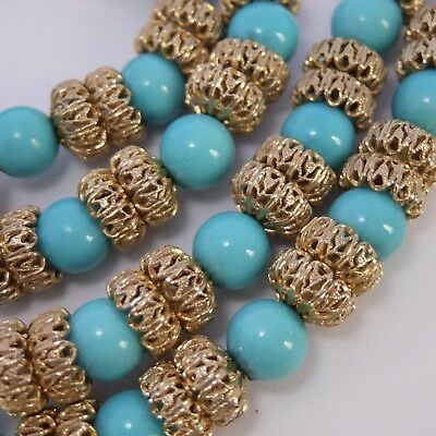 Vintage Vendome Gold Plate Filigree Faux Turquoise Bead Necklace