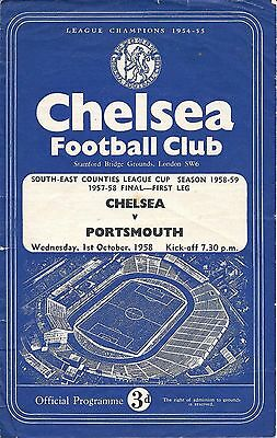 Chelsea v Portsmouth South East Counties League Cup Final 1957/58 played 1958/9