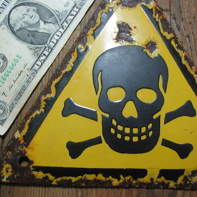 100% ORIGINAL - Porcelain Sign 1939-1945, WWII, Danger, Skull & Crossbones No:44