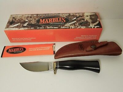 NOS UNUSED MARBLE'S FIELDCRAFT FIXED BLADE KNIFE IN BOX w/ LEATHER SHEATH
