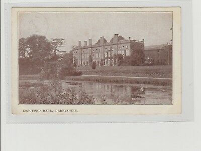 Derbyshire Longford Hall Near Ashbourne Postmarked Longford 1904 Sent Locally