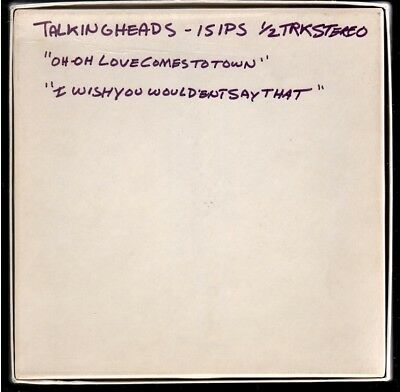 TALKING HEADS Unreleased 1977 ROUGH MIX MASTER TAPE with Outtake FROM ENGINEER