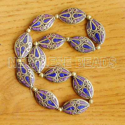 Lapis Purple 12 Beads Brass Tibetan Nepalese Tibet Nepal Ethnic Tribal UB2338C