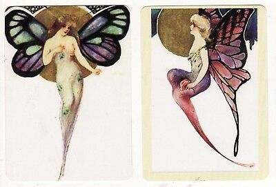 FANTASY LADIES FAIRIES  BUTTERFLY WINGS x 2 -  MODERN WIDE Single Playing Cards