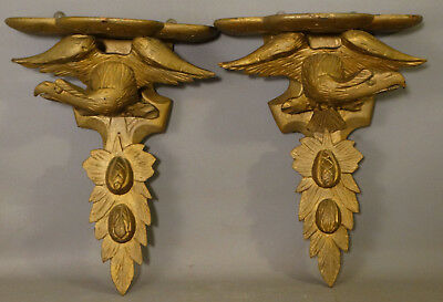 LG Pair (2) Antique CARVED Wood PATRIOTIC EAGLE Statue CORBEL Style WALL SHELF