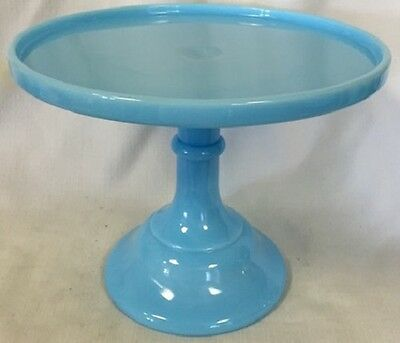 Robin Egg Blue Glass Plain & Simple Pattern Pastry Tray - Cake Plate - 9""