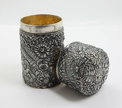 Fine Antique 19c Tiffany Sterling Silver Round Repousse Cylinder Box