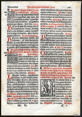 451 Yr Old Italian Roman Missal Leaf  Feast of The Most Holy Name of Jesus