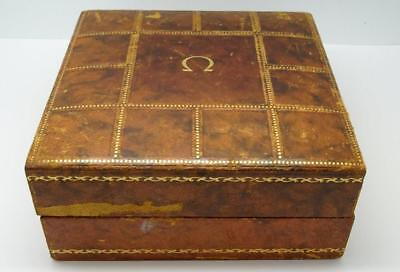 *original Rare Vintage Men's Omega Brown Leather Lined Watch Box*