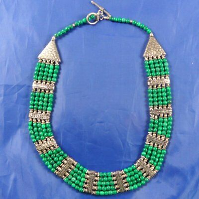 Stunning Vintage Sterling Silver & Malachite Ethnic Chunky Necklace