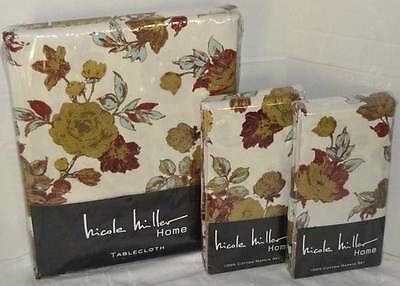 "NICOLE MILLER Fall Floral 60"" x 120"" TABLECLOTH AND 8 NAPKINS NEW"