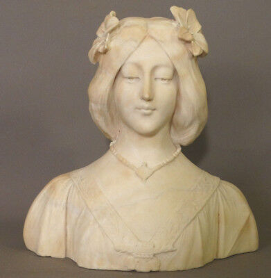 Antique ART NOUVEAU Carved MARBLE Alabaster LADY BUST Sculpture PARLOR STATUE