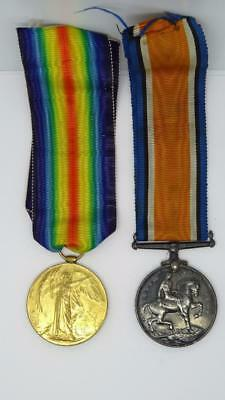**original Ww1 Silver British War & Victory Medal Full Size Pair Queens Reg**