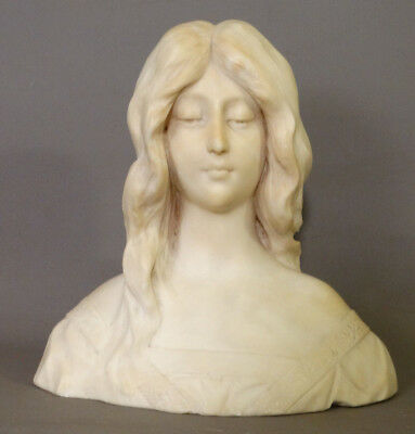 Antique ART NOUVEAU Carved MARBLE LADY GODDESS Alabaster BUST Sculpture STATUE