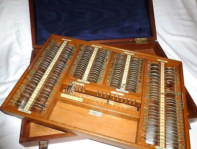 OPTICIAN'S DIAGNOSTIC LENS SET BY WISEMAN & Co PRESENTED IN MAHOGANY CABINETTE