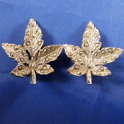 Stunning Vintage 1950S Silver Tone & Marcasite Maple Leaf Clip On Earrings