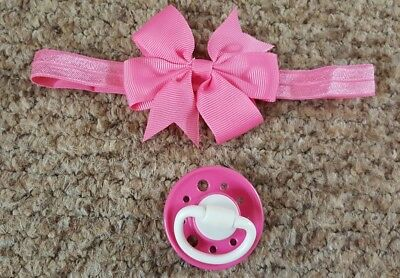 Reborn Baby's Customised Magnetic Dummy & Hairband,  New! *view All Photos*