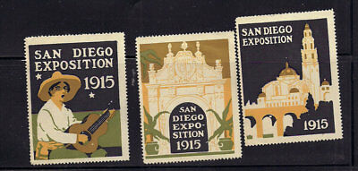 1915 PPIE Advertising Poster Stamps California Panama Pacific Expo San Diego