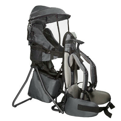 Clevr Baby Backpack Camping Hiking Child Kid Toddler Carrier Shade Visor, Grey