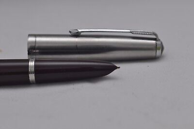 Lovely Vintage Parker Number 51 Fountain Pen - Maroon With Steel Cap - Working
