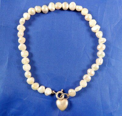 Stunning Sterling Silver Fresh Water Pearl Dangle Heart Bracelet