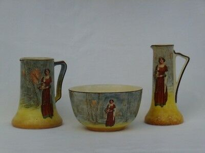 """ROYAL DOULTON SERIES WARE """"ANNE PAGE"""" D3596 PAIR of VASES & a DEEP BOWL"""