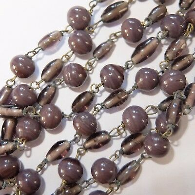 Long Antique Art Deco Lavender Purple Art Glass Bead Necklace