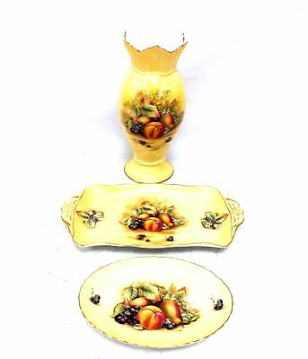 """3 x Pieces Of AYNSLEY """"Orchard Gold"""" Items VASE & PLATES - S84"""
