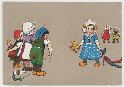 Children with Toys, Christmas Greetings PPC, ~1903-10 (Est) Vintage, G.Unused
