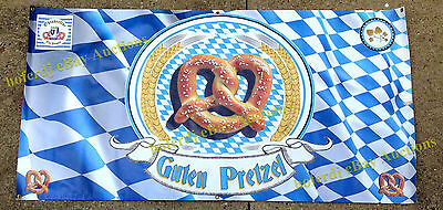 Pretzel on Bavarian Flag Oktoberfest Banner 3' x 6'   Fair Food Concession Sign