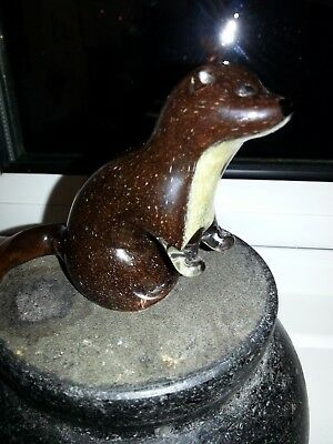 An Upright Glass Stoat / Otter Figure Paperweight Stamped Langham In Vgc