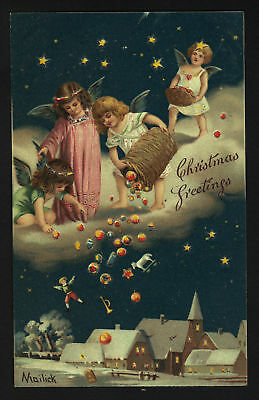 HOLD-TO-LIGHT Christmas postcard by Mailick cherubs & toys