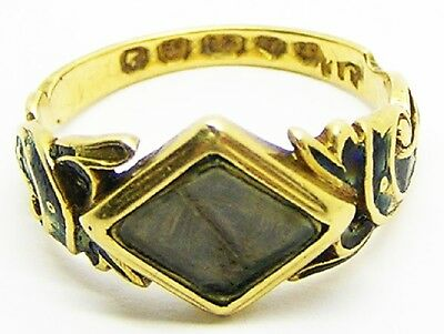 Nice Victorian 18k Gold Hair & Enamel Mourning Ring Dated 1850 Size 7