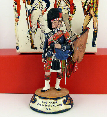 CHAS C STADDEN 90mm STUDIO PAINTED 1937 SCOTS GUARD PIPE MAJOR FIGURE ( BOXED