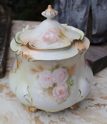Antique RS Prussia Cracker Biscuit Jar Pink Roses