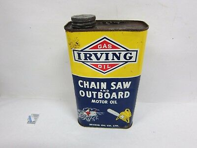 Vintage '' IRVING '' Oil Chain-Saw And Outboard Motor Oil 1 Imperial Quart