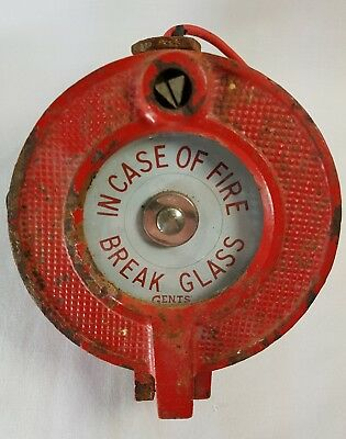 Vintage GENTS Of Leicester Tangent Industrial Red Fire Alarm Break Glass Button