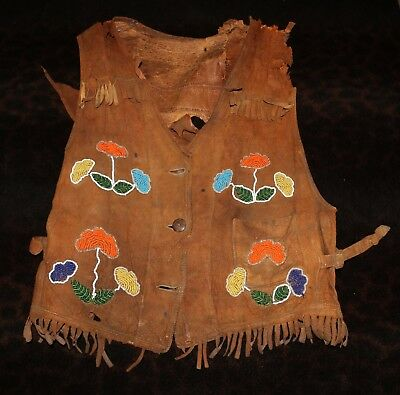 Antique Beaded Plateau or Northern Plains Child's Vest - Damaged & Used  -