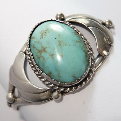 Vintage Native American Southwest Sterling Silver Turquoise Cuff Bracelet