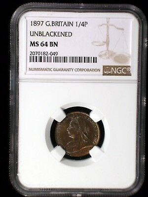 Great Britain 1897 1/4 Penny *NGC MS-64* Farthing Unblackend Color Toned