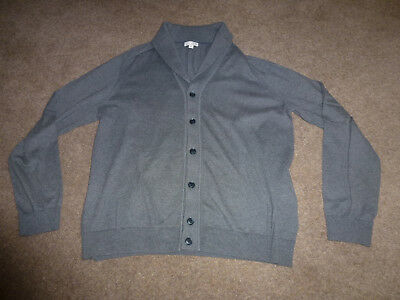 Mans Grey Knitted Cardigan With Collar - V Neck Style With Button Fastening - Fr