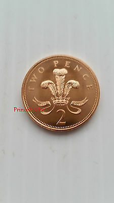 1999*GB*UNC*BADGE OF PRINCE OF WALES COPPER~NON MAGNETIC TWO PENCE 2P-KM#987a