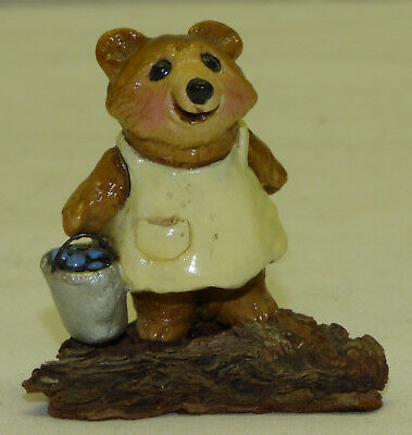 Retired 1977 Annette Petersen Miniature Blueberry Bear Wee Forest Folk Signed AP