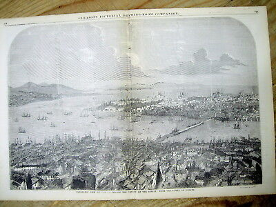<1853 illustr newspaper w Large BIRDS EYE VIEW engraving CONSTANTINOPLE Istanbul