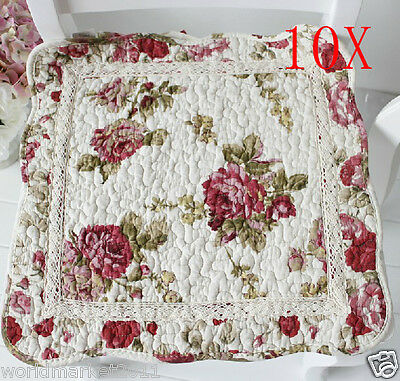 10X New Pastoral Style Red Rose L 45 * W 45 CM Cotton Practical Chair Cushions