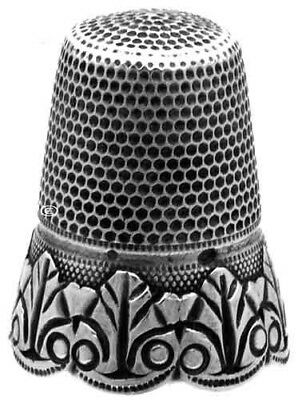 Antique French Silver Thimble, Leaf Design & Scalloped Edge *C.1900s